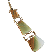 Agate Three-Tiered Gold-Filled Wired Watch Fob From The Turn of the Century