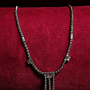Art Deco Sterling Silver and Crystal 1920's Vintage Design Necklace