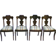 Set of 4 Beautiful Victorian Dark Mahogany Chairs-Paine Furniture Co. Boston