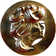 Art Nouveau Lady Brass Brooch Circa 1900-1910