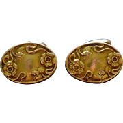 Beautiful Victorian Oval Gold-Filled Cufflinks with Little Flowers Circa 1880