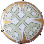 Interesting Art Deco Pastel Hand-Painted Porcelain Brooch From The 20's