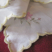 White Silk Turn of the Century Embroidered Handkerchief
