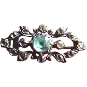 Sterling, Aquamarine and French Paste Victorian Brooch