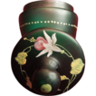 Green Hand Blown Glass Enameled Top Boudoir Jar