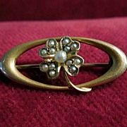 10K Gold and Pearl  Four Leaf Clover Victorian Oval Pin