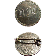 Sterling Silver Pin Backed With French Franc Dated 1881