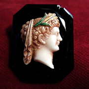 Art Nouveau Jet Cameo Pin Circa 1900-1910