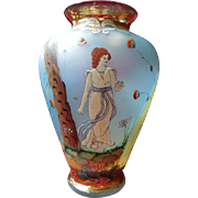 Exquisite Hand-Painted Art Nouveau Glass Vase Circa 1900-1910