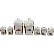 Marked German  Porcelain Lustre Seven Piece  Condiment Set