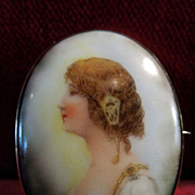 Gorgeous Art Nouveau Porcelain Portrait of Woman