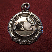 Vintage Sterling Silver and Enamel Rabbit Medal, Dated 1948