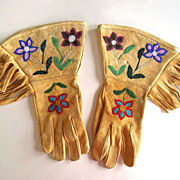 Authentic Native American Plateau Beaded Buckskin Gauntlets