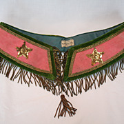 Antique Pink and Green Velvet  and Brocade Belt by DeMoulin Bros.