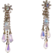 Swarovski Crystals Aurora Borealis Briolettes Shoulder Duster Clip Earrings