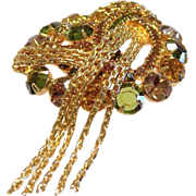 Stunning Rhinestone Brooch Pin With Chain Tassles