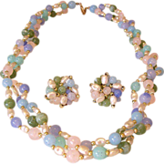 Twisted Three Strand Pastel Beads Necklace Clip Earrings Set with Faux Pearls