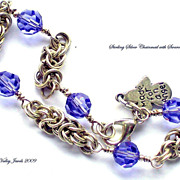 Sterling Silver Chainmaille w/ Tanzanite Swarovski 8mm Crystals