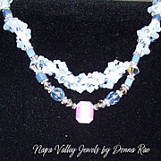 SALE Necklace w/ Swarovski Crystals, Blue accents