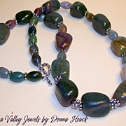 SALE - Necklace of Earth Tone Gemstones - Nuggets in a variety of colors