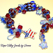 SALE Bracelet  - Red, White & Blue custom Lampwork Beads, Swarovski Charms