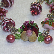 """Lil BEAR Flower Girl"" -Bracelet or Necklace in browns, pinks, w. raised roses"