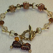 Bracelet in Autumn colors - browns, copper,  gold - maple leafs