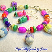 "SALE BRACELET  - ""Cupcakes"" - Pinks, Yellows, Greens, Blues, Bracelet with cupcake c"