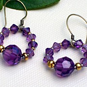 Earrings -  Amethyst Crystal Round Dangles -