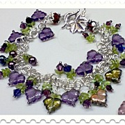 Custom order...Summer Festival Sterling Silver Bracelet, Amethyst crystals & leaves