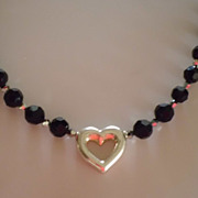 REDUCED Sterling Silver Heart , Black crystal necklace - On Sale - one of a kind