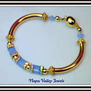 SALE Custom Orders - Gold filled Bangle with Swarovski Crystals