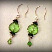 Peridot Green Swarovski Twist Earrings with Sterling Ear Wires