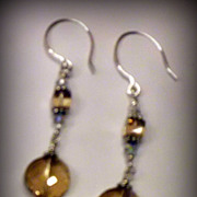 Dangling Earrings - light Topaz Twist  Swarovski Crystal