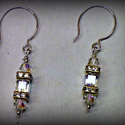 Earrings - light drop - AB crystals - Sterling Silver Ear Wires