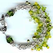REDUCED Bracelet -  Views of the Vineyard Series - Sterling Silver Charm Bracelet - Swarovski