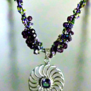 SALE Necklace - Silver Pendant w/ CZ bead;  Amethyst Swarovski Crystals, green, purple color .