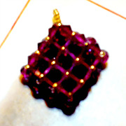 SOLD SALE: &quot;Terracita&quot; a pretty reversible pendant; fuchsia & blue - accented with g