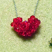 Necklace - Red Swarovski Crystal Heart - small but delightful, heartfelt!