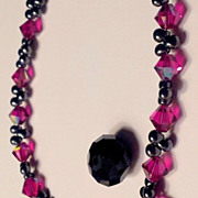 Necklace w/  Ruby Swarovski Faceted Briolettes,  black beads -