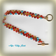 Crystal Bracelet - Brilliant Colors - Orange, Aqua, Red.