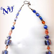 Necklace - Blue Moreno with Gold/Copperish Accents, Rust