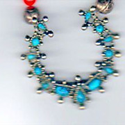 SALE Necklace - Turquoise, Silver and Coral Colored beads - good luck charm