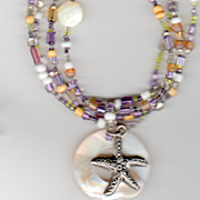 """Beaches"" Necklace & Bracelet Set - Mother of Pearl dangle"