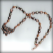 Necklace  Copper antique leaf  necklace focal w glass copper crystals, g