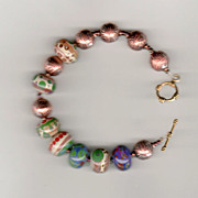 Bracelet - beautiful lampwork & copper beads