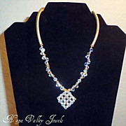 "Necklace - ""Monique"" Swarovski Crystal with gold filled curves tubes"