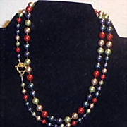 Necklace -  Swarovski Colorful Pearls - graduated sizes - Very Pretty