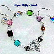 Mothers birthstone bracelet - Earrings  custom order - sample only