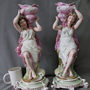 SALE PENDING Fine Pair c1880s Art Nouveau Figurines, Ladies with Sea Shells